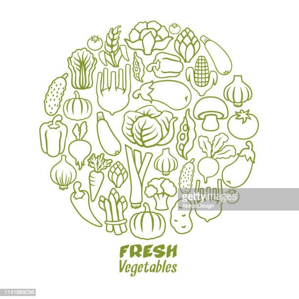 vegetables round composition - marrom stock illustrations