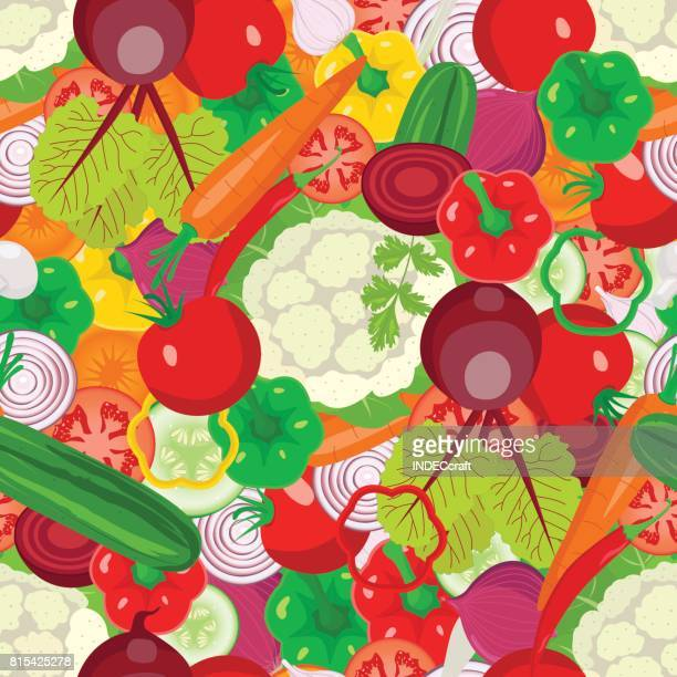 vegetables seamless design - cauliflower stock illustrations, clip art, cartoons, & icons