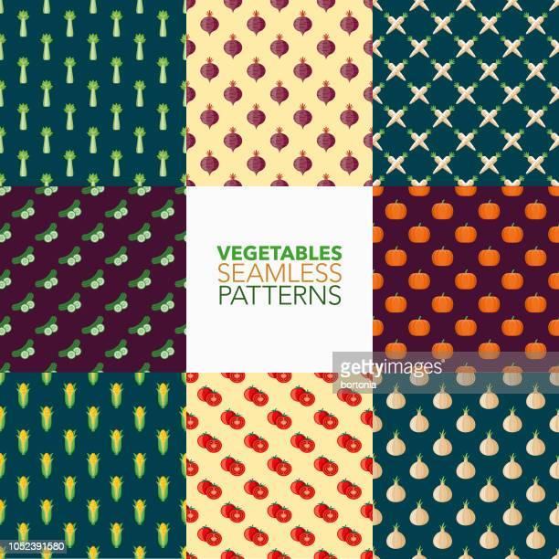 vegetables seamless pattern set - marrom stock illustrations