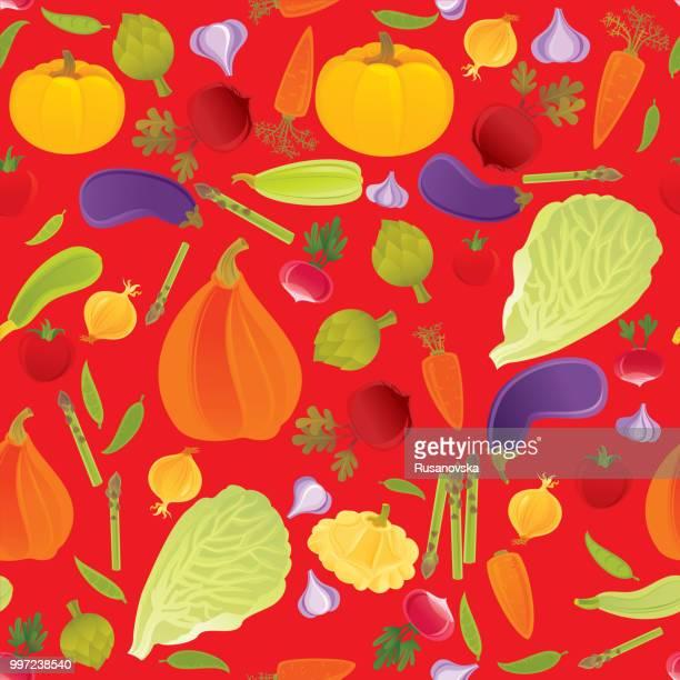 vegetables seamless pattern - marrom stock illustrations