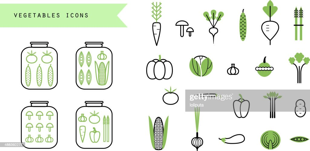 Vegetables set. Icons. Infographics elements.Preserved. Isolated