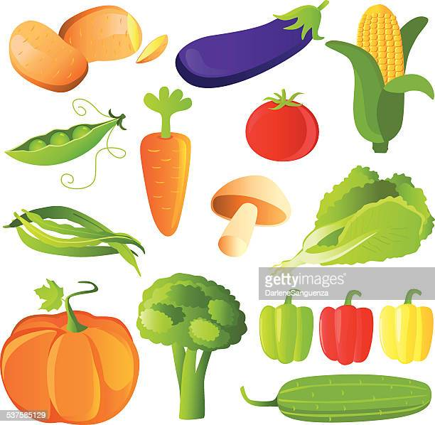 vegetables set in glossy style - zea stock illustrations, clip art, cartoons, & icons