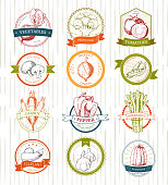 Vegetables  vector vegetably type tomato or carrot for vegetarians and label of healthy organic food in grocery shop illustration vegetated badges set isolated on white background