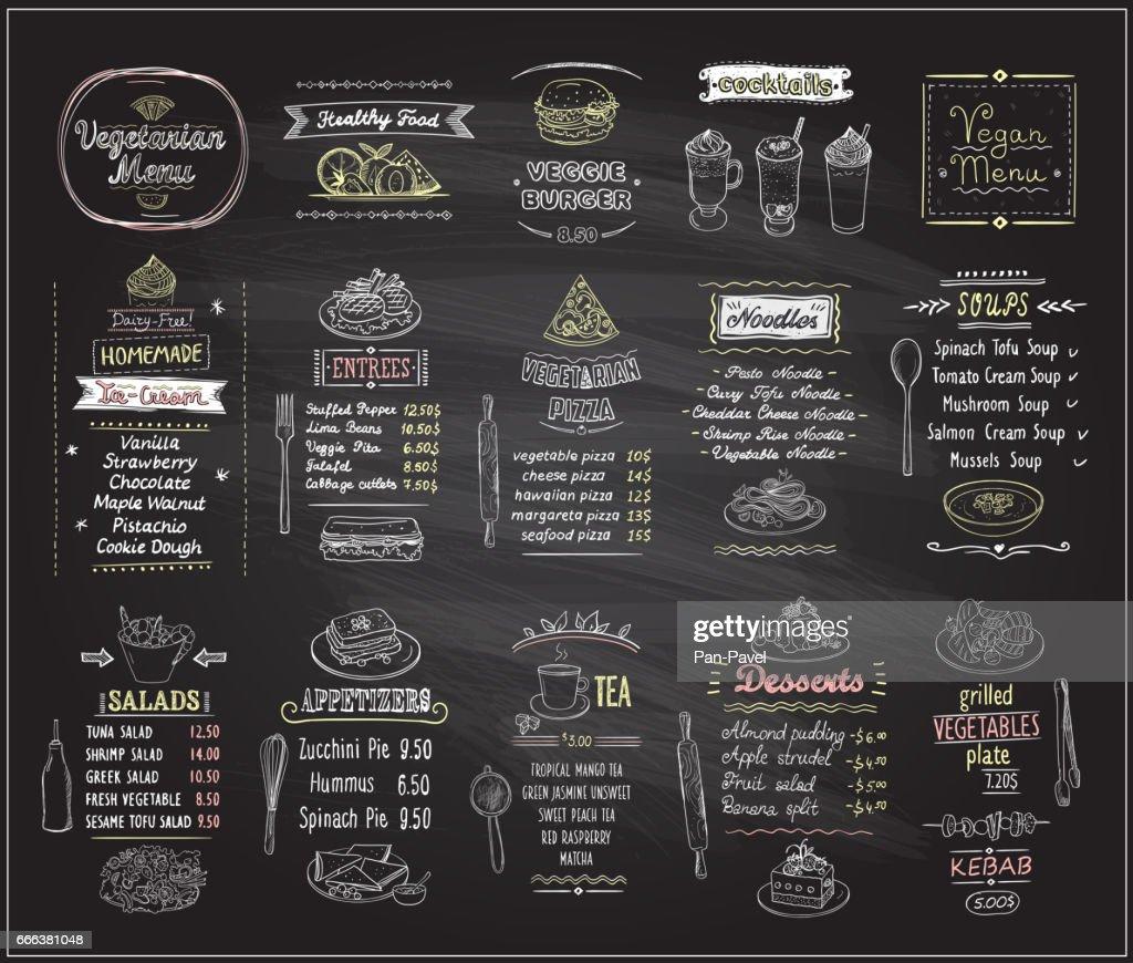 Vegetarian and vegan food chalkboard design set