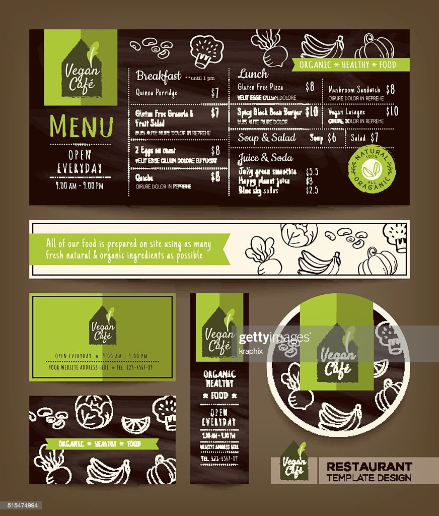Vegetarian and vegan healthy restaurant cafe set menu graphic design