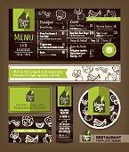 Vegetarian and vegan healthy restaurant cafe set menu graphic design