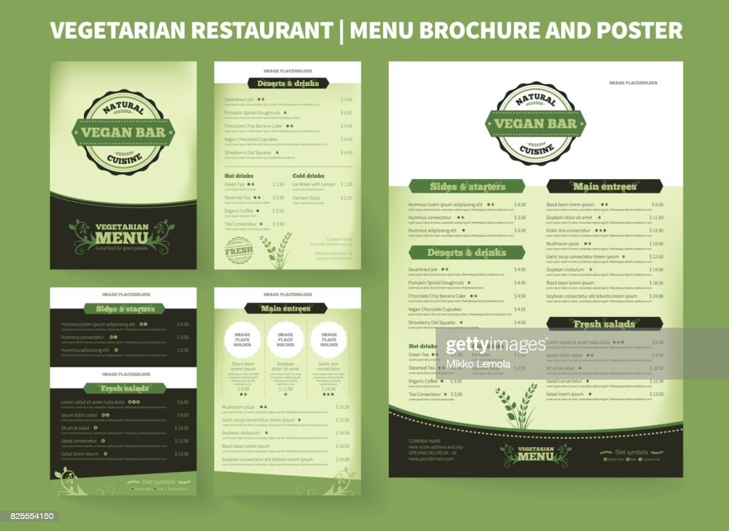 Vegetarian Restaurant Vector Brochure Template