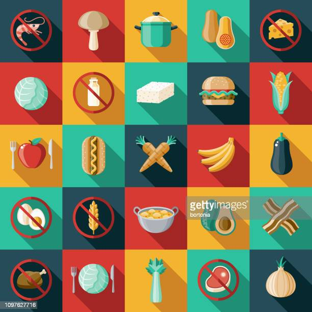 vegetarian vegan flat design icon set - healthy eating stock illustrations