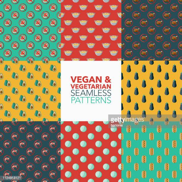 ilustrações, clipart, desenhos animados e ícones de vegetariana e vegan padrões - camarões