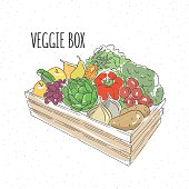 Veggie box with fruit and vegetables. Hand drawn healthy eating
