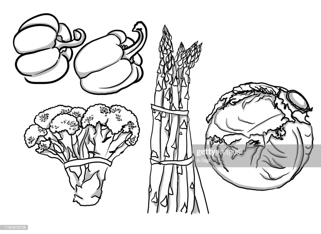 Veggie Collection A Greyscale High Res Vector Graphic Getty Images