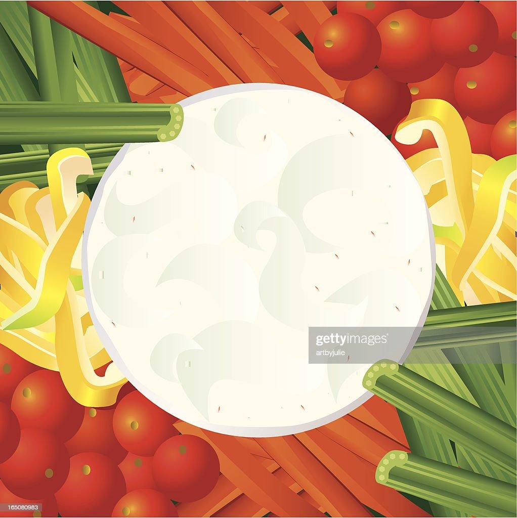 Veggies and dip : stock illustration