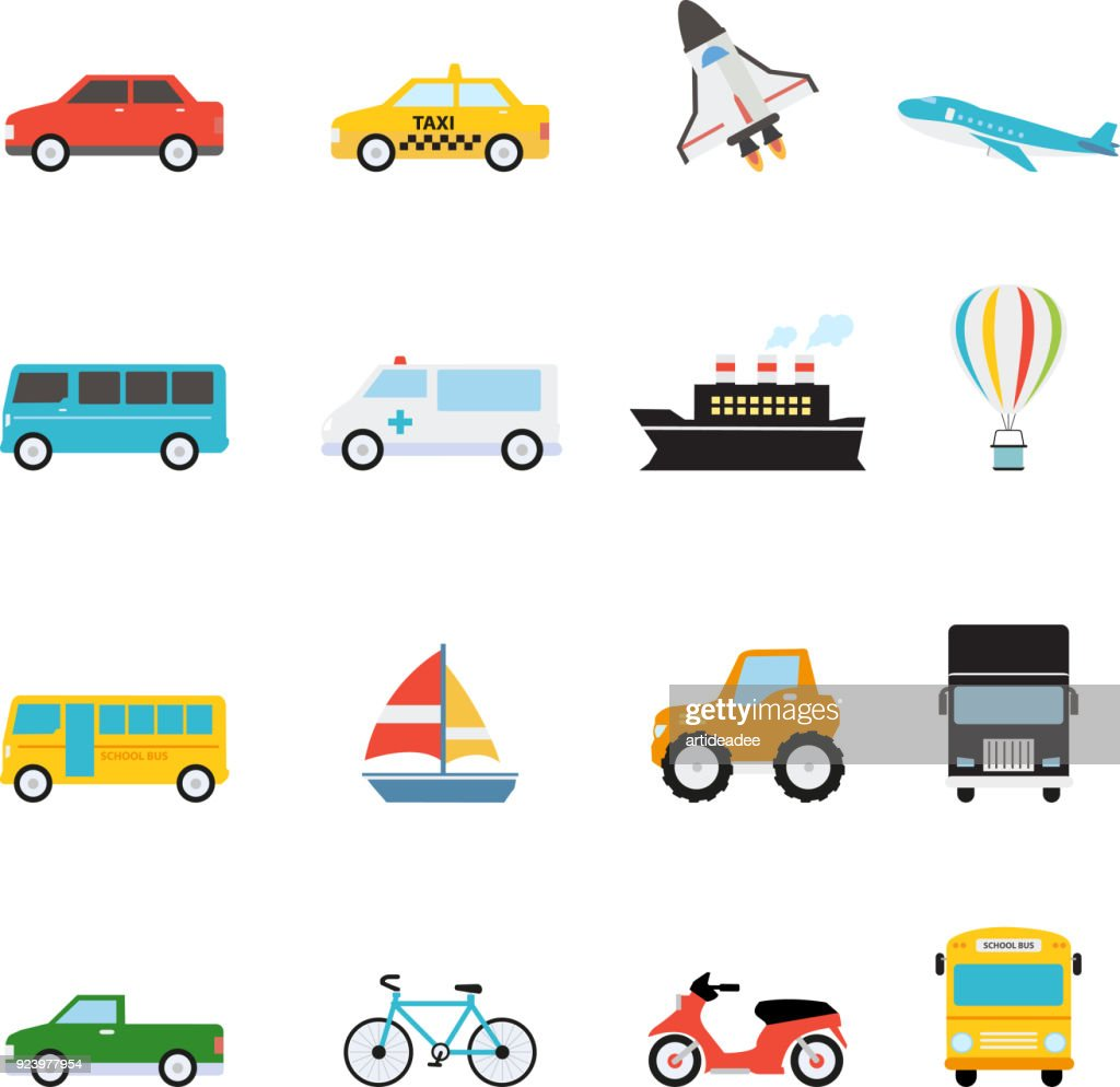 Vehicle and Transportation icon set vector illustration
