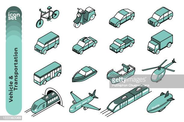 vehicle and transportation mono colour outline icon set on white background. vector stock illustration. - train vehicle stock illustrations