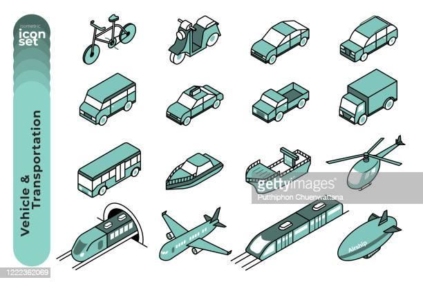 fahrzeug und transport mono farbe umriss icon set auf weißem hintergrund. vektor-stock-illustration. - transportmittel stock-grafiken, -clipart, -cartoons und -symbole