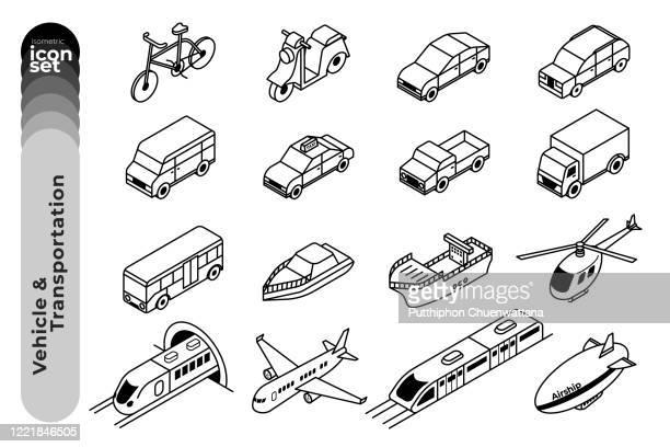 fahrzeug und transport umriss icon set auf weißem hintergrund. vektor-stock-illustration. - isometrische darstellung stock-grafiken, -clipart, -cartoons und -symbole