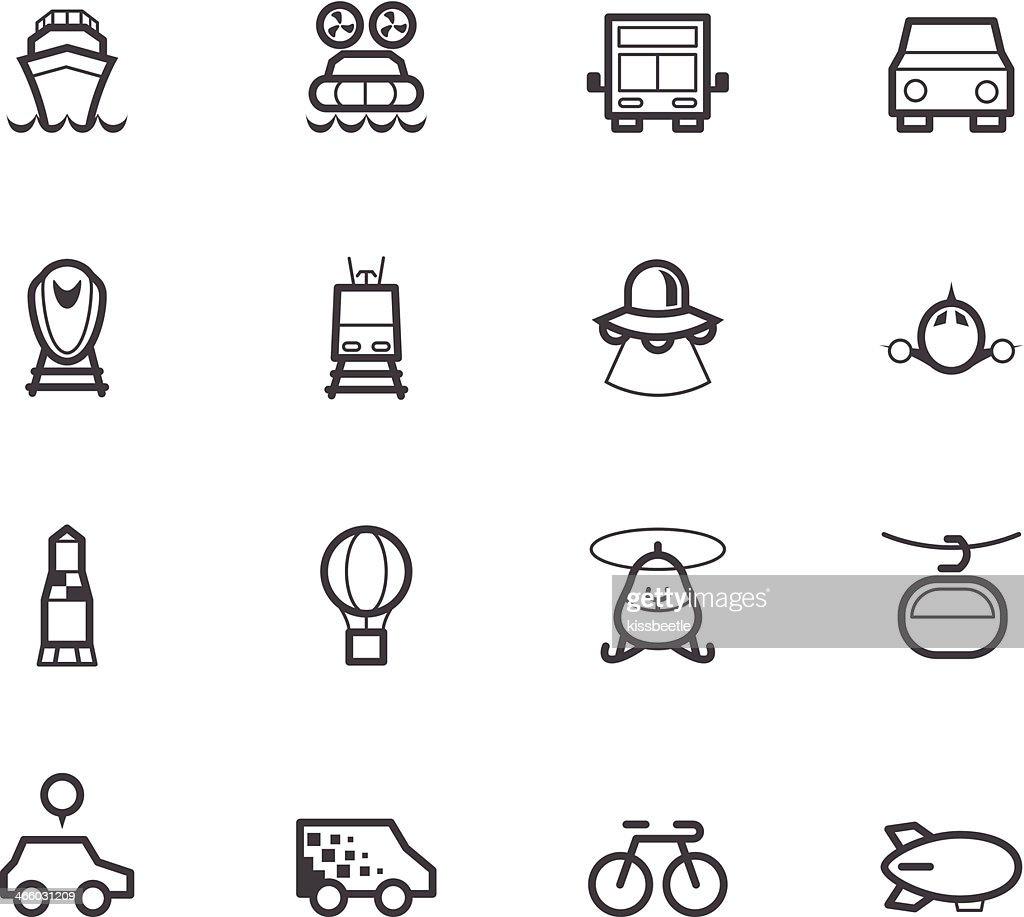 vehicle black icon set on white background