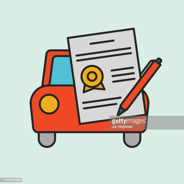 vehicle contract - rideshare icon - car ownership stock illustrations, clip art, cartoons, & icons