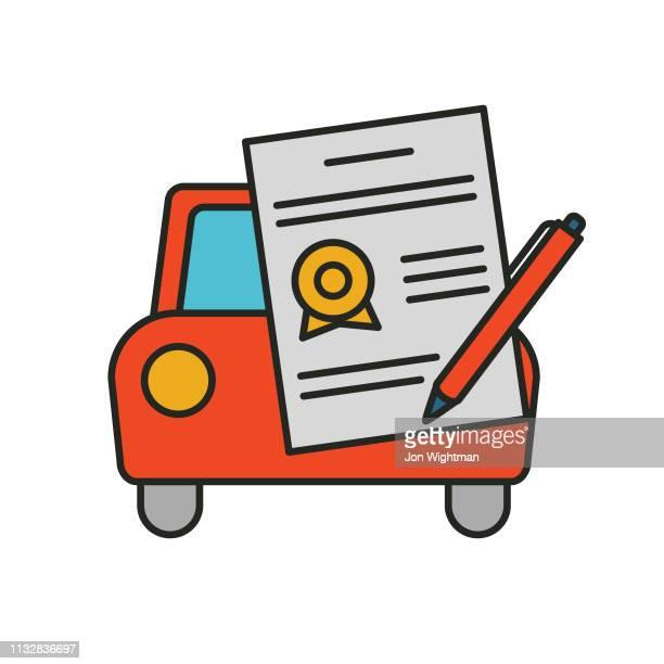 車両契約-rideshare アイコン - 証書点のイラスト素材/クリップアート素材/マンガ素材/アイコン素材