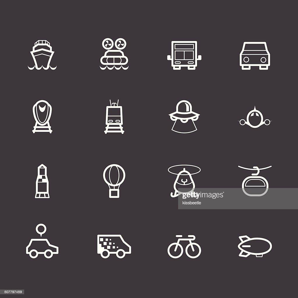 vehicle element vector white icon set on black background