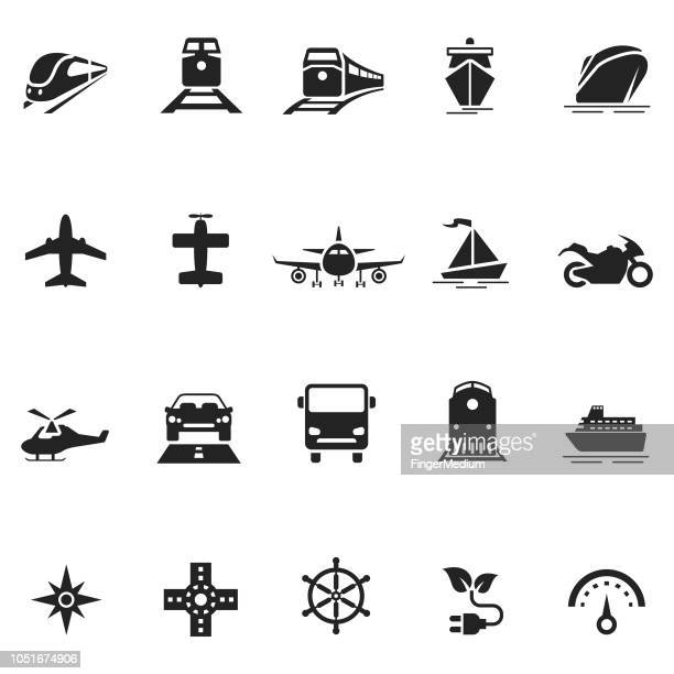 vehicle icon set - aeroplane stock illustrations
