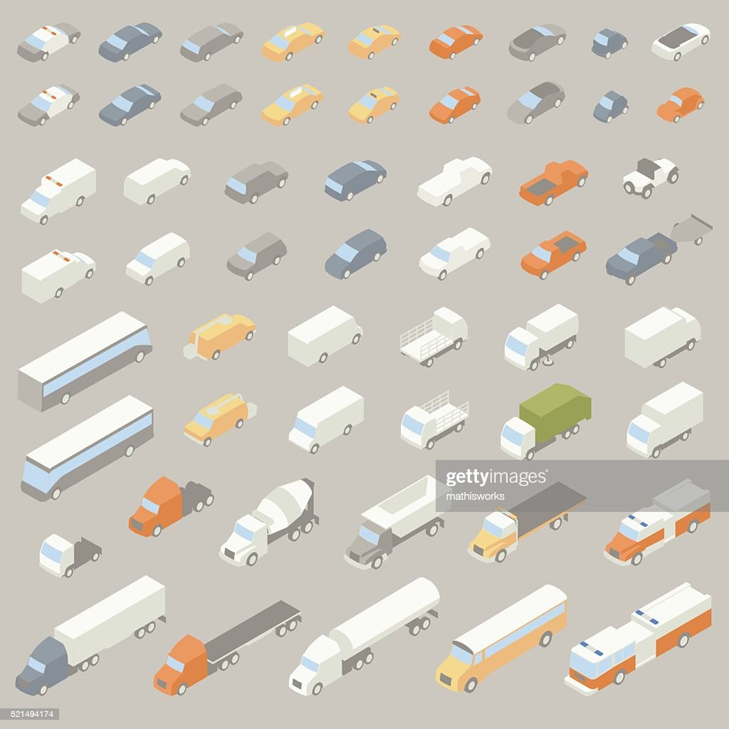 Vehicle Icons Isometric : Vector Art