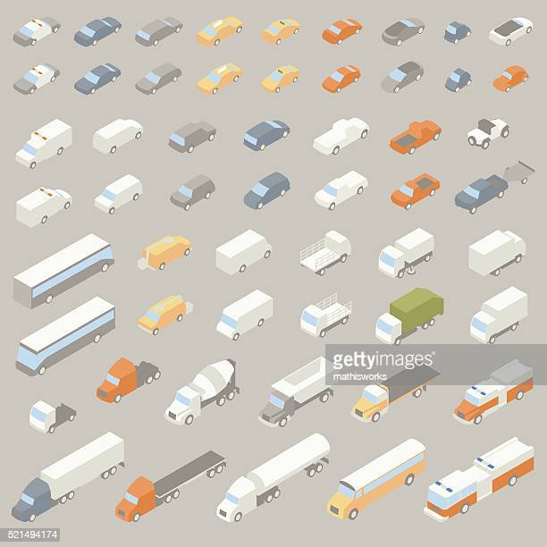 vehicle icons isometric - land vehicle stock illustrations