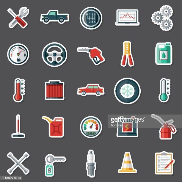 ilustraciones, imágenes clip art, dibujos animados e iconos de stock de juego de pegatinas de mantenimiento de vehículos - filtración