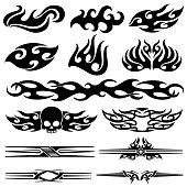 Vehicle motorcycle flames design. Racing car vector graphics
