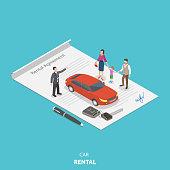 Vehicle rental flat isometric vector concept.