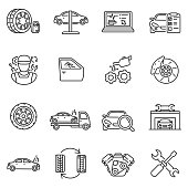 Vehicle service icons set. Editable stroke