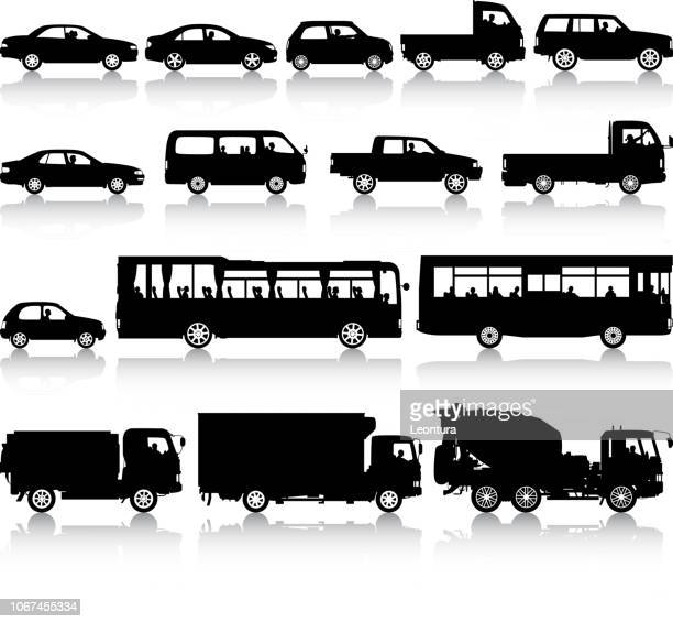 vehicle silhouettes - bus stock illustrations