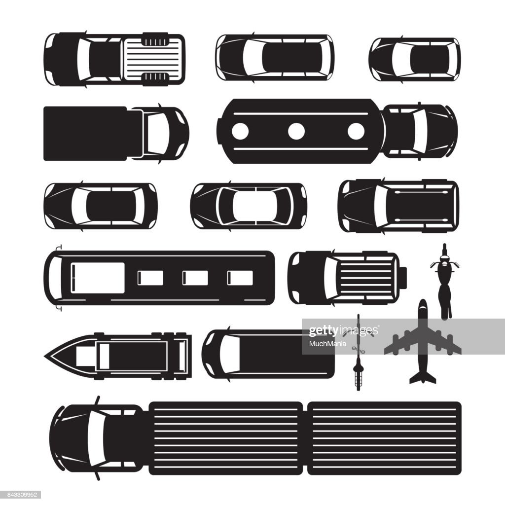 Vehicles, Cars and Transportation in Top or Above View