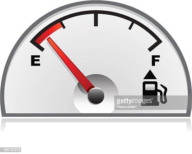Vehicle's empty petrol gauge illustration isolated on white