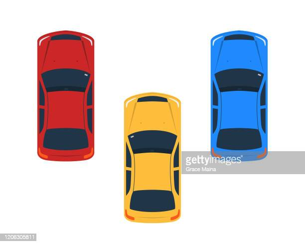 vehicles facing one direction vector illustration - high angle view stock illustrations