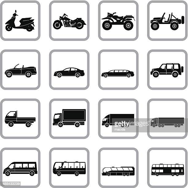 vehicles icon set - moped stock illustrations, clip art, cartoons, & icons