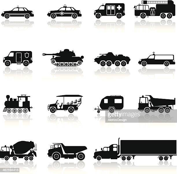 ilustrações de stock, clip art, desenhos animados e ícones de conjunto de ícones de veículos - carro de bombeiro