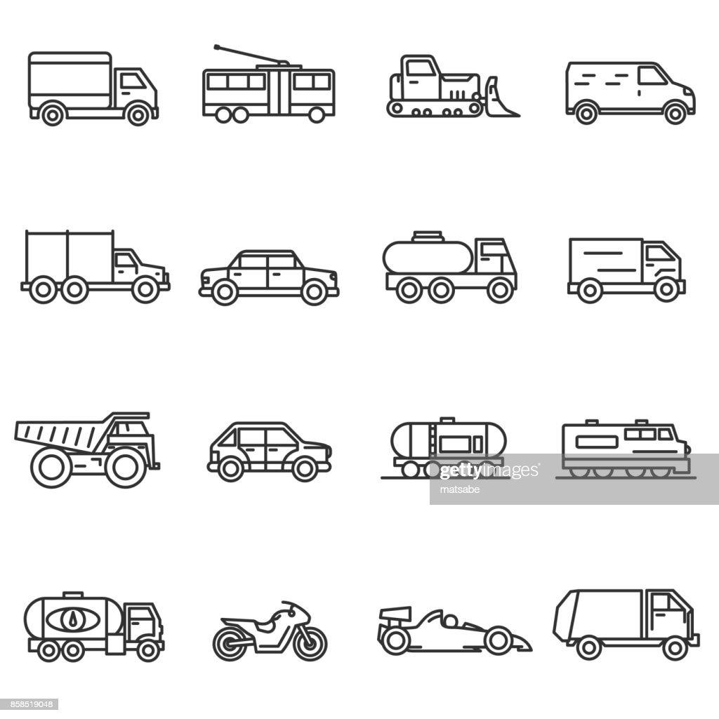 Vehicles, line icons set.