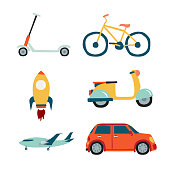 Vehicles set collection: scooter, car, bicycle, motorbike, rocket, airplane.