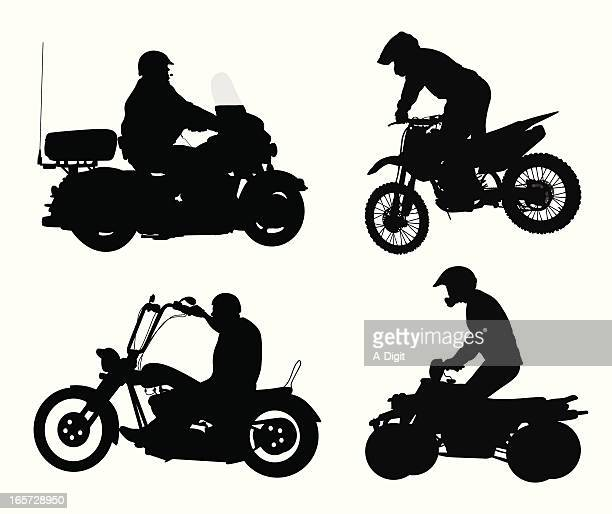 vehicular vector silhouette - motorcycle rider stock illustrations, clip art, cartoons, & icons