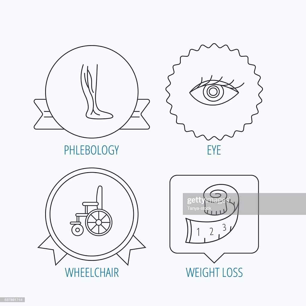 Vein varicose, wheelchair and weight loss icons.
