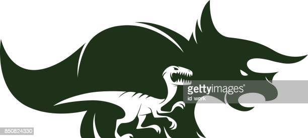 velociraptor and triceratops silhouette - bird of prey stock illustrations, clip art, cartoons, & icons