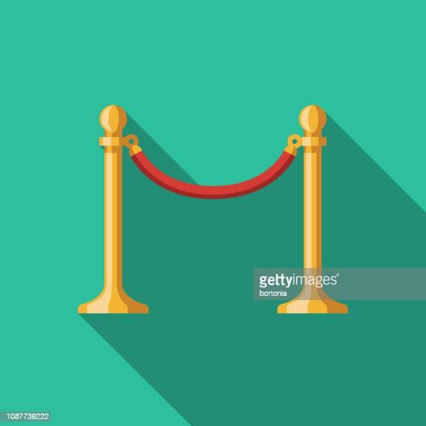 velvet rope flat design prom icon - roped off stock illustrations