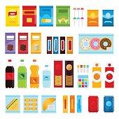 Vending machine product items set.