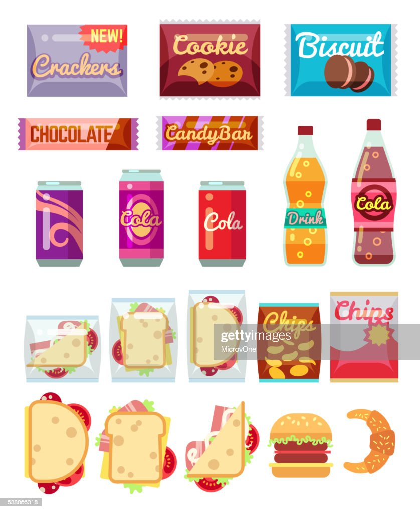 Vending machine products packaging flat icons