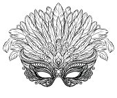 Venetian carnival mask with feathers.