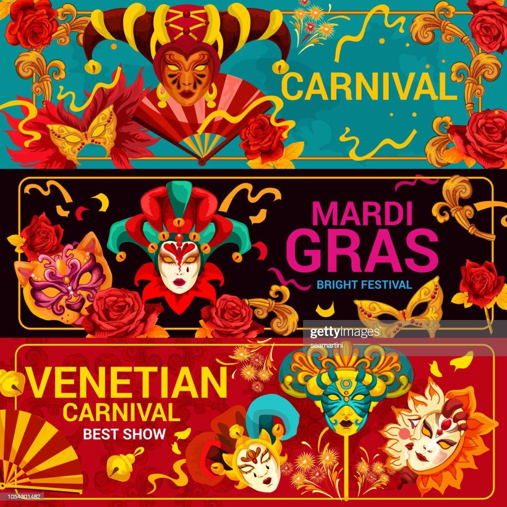 Venetian carnival masks and Mardi Gras