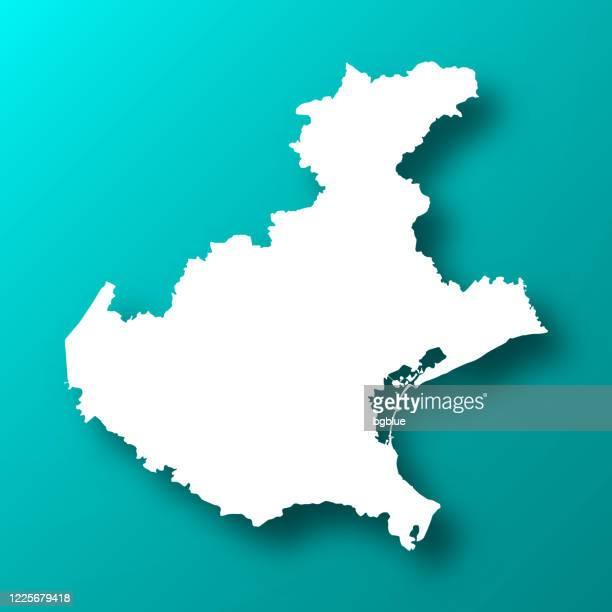 影のあるブルーグリーン背景のヴェネトマップ - ヴェネト州点のイラスト素材/クリップアート素材/マンガ素材/アイコン素材