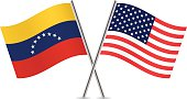Venezuela and American flags. Vector.