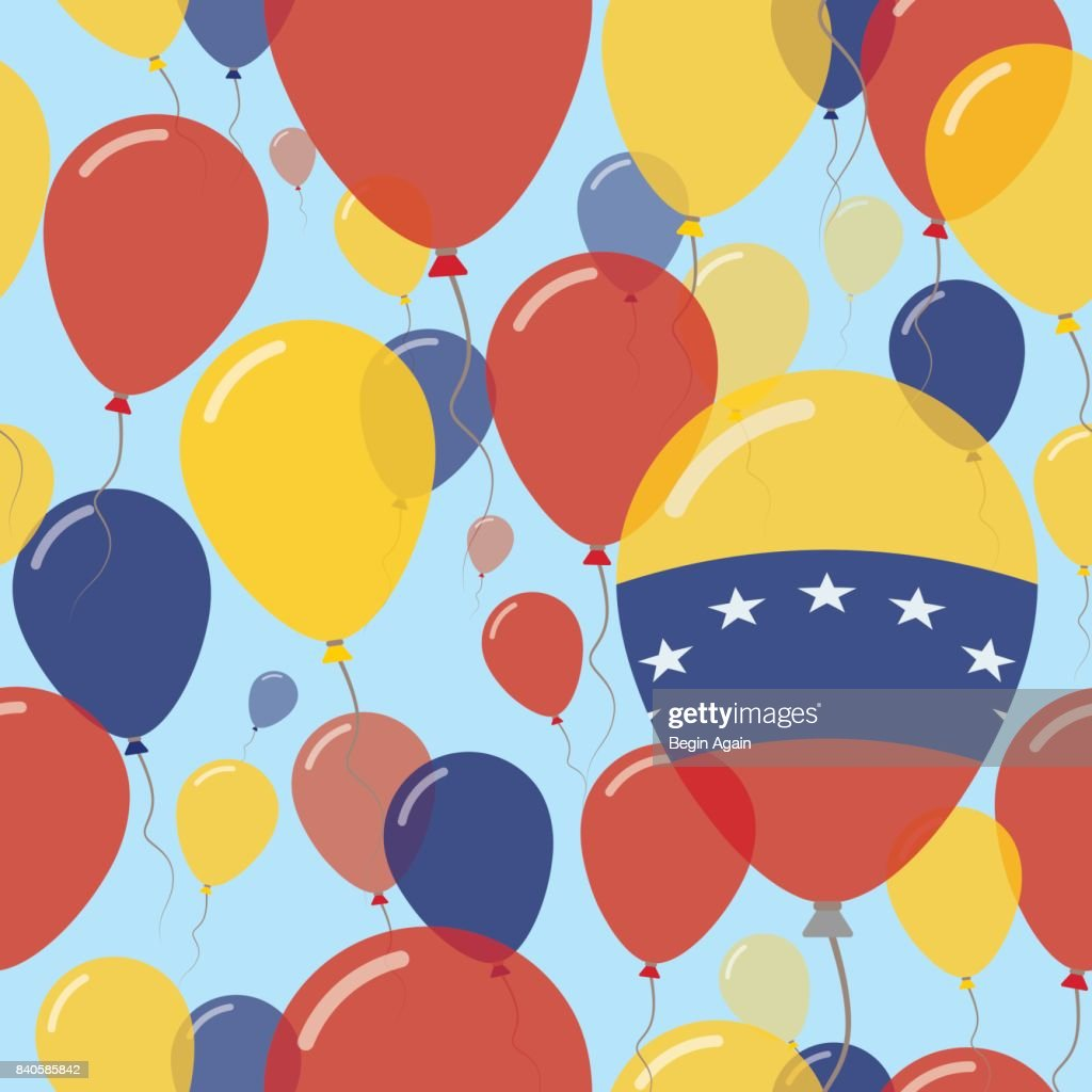 Venezuela, Bolivarian Republic of National Day Flat Seamless Pattern. Flying Celebration Balloons in Colors of Venezuelan Flag. Happy Independence Day Background with Flags and Balloons.